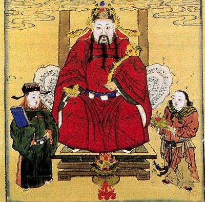 Гражданский бог богатства Би-Гань (в центре), слева от него - небесный чиновник Тянь-гуань, а справа Чжао-цай тунцзы (отрок, призывающий богатства). Китайская лубочная картина. Кон. 19 - нач. 20 вв.